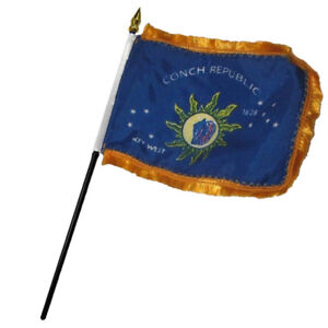 3x5 Key West Conch Republic Poly Nylon Sleeve w// Gold Fringe Flag 3/'x5/' Banner