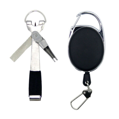 Quick Knot Tool 4 in1 Fly Fishing Clippers Line Nipper Tying w// Zinger Retractor