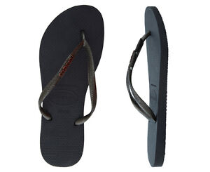Havaianas-Women-039-s-Slim-Logo-Metallic-Black-Gold