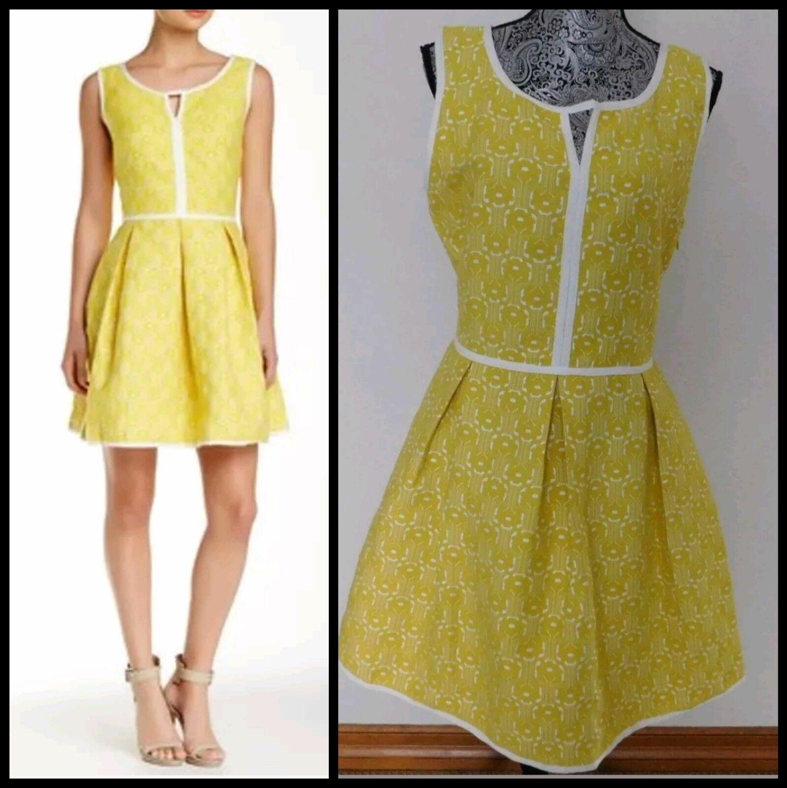 138 Max Studio Yellow & Ivory Jacquard Cotton Blend Fit n Flare Dress  8 M3020