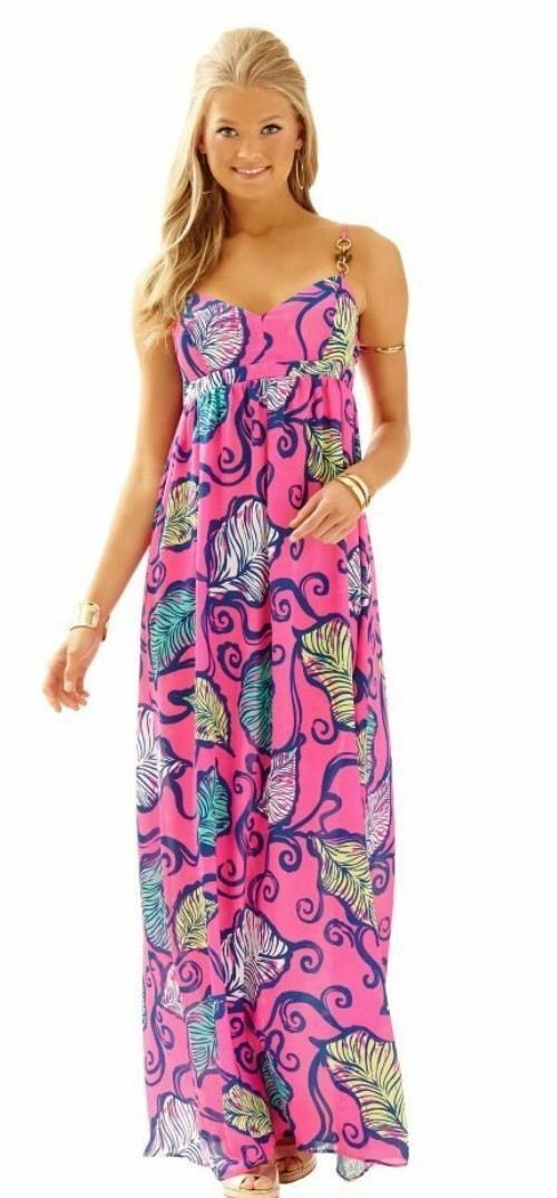 New Lilly Pulitzer Joanna Maxi Dress Tropical Pink Leaves in the breeze Size 0