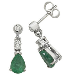 9ct White Gold Pear Shaped Emerald Drop Earrings