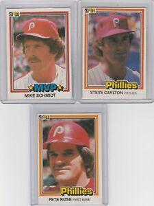 1981-Donruss-Phillies-Pete-Rose-Steve-Carlton-Mike-Schmidt