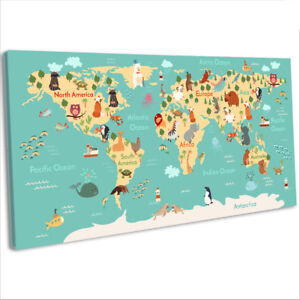 Details about Animals World Map Canvas Print Kids Children's Bedroom on glider map, statue map, inverted map, glass map, go to the map, palace map, border map, magnetic map, large map, world map, trench map, floor map, desk map, plant map, plate map, atlas map, home map, green map, englewood map, step map,