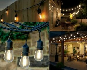 Details About 48 FT LED String Lights Outdoor Patio Yard Commercial Grade  Waterproof Bulbs NEW