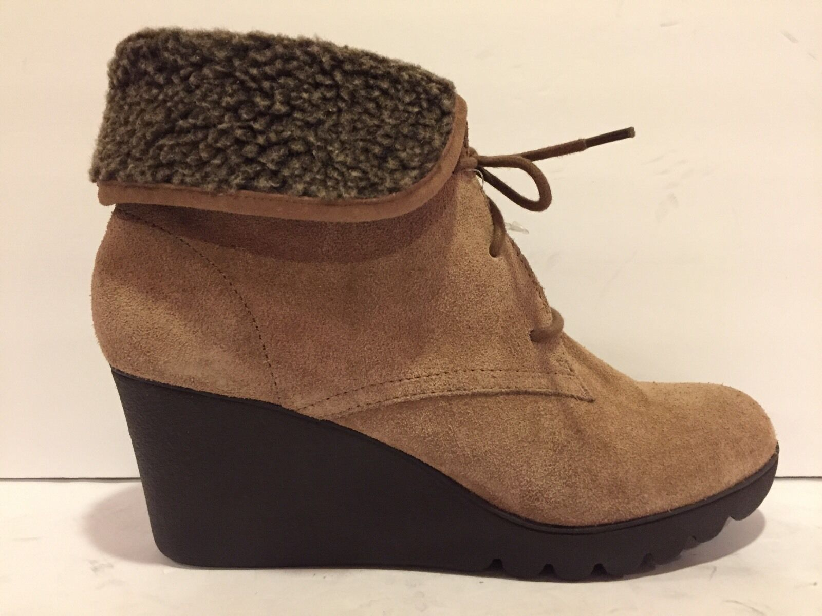 Donald J Pliner Maxxi Ankle Boots Boots Boots Wedge Lace Up Fur Light Brown 8.5 M  258 New 3f5555