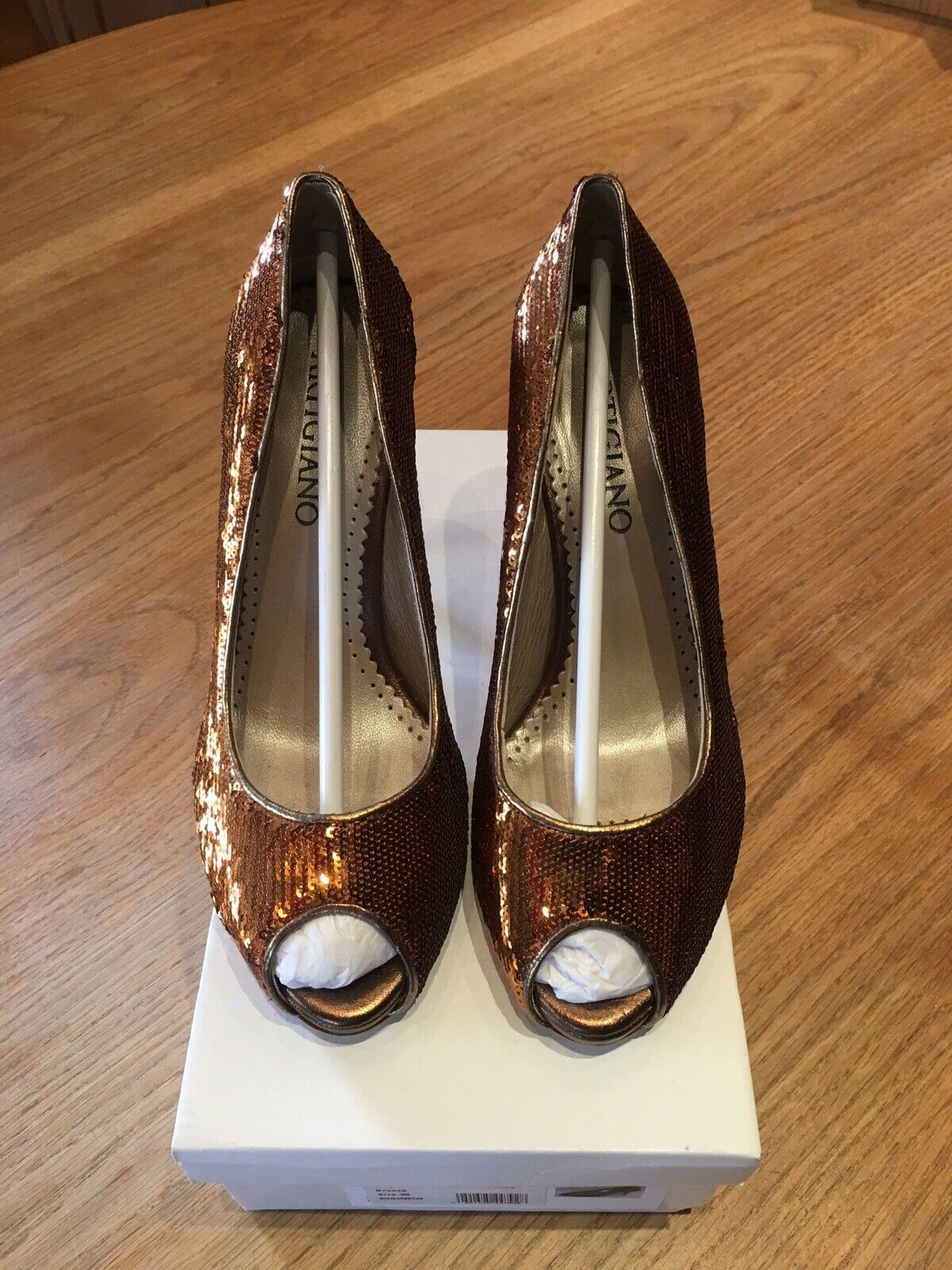 Bronze Elegant Peep-toe Court shoes From Designer Artigiano Size 6 - 39