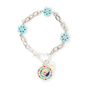 Disney Princess Frozen Elsa Charm Bracelet Silver Glitter Snowflakes Hearts NWT