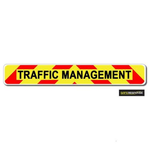 Magnetic sign TRAFFIC MANAGEMENT chevron design Background & text vehicle MG121