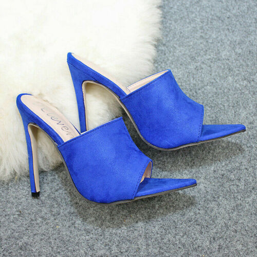 Women Pointed Slip On Peep Toe Stiletto Shoes High Heel Party Mules Sandals Size