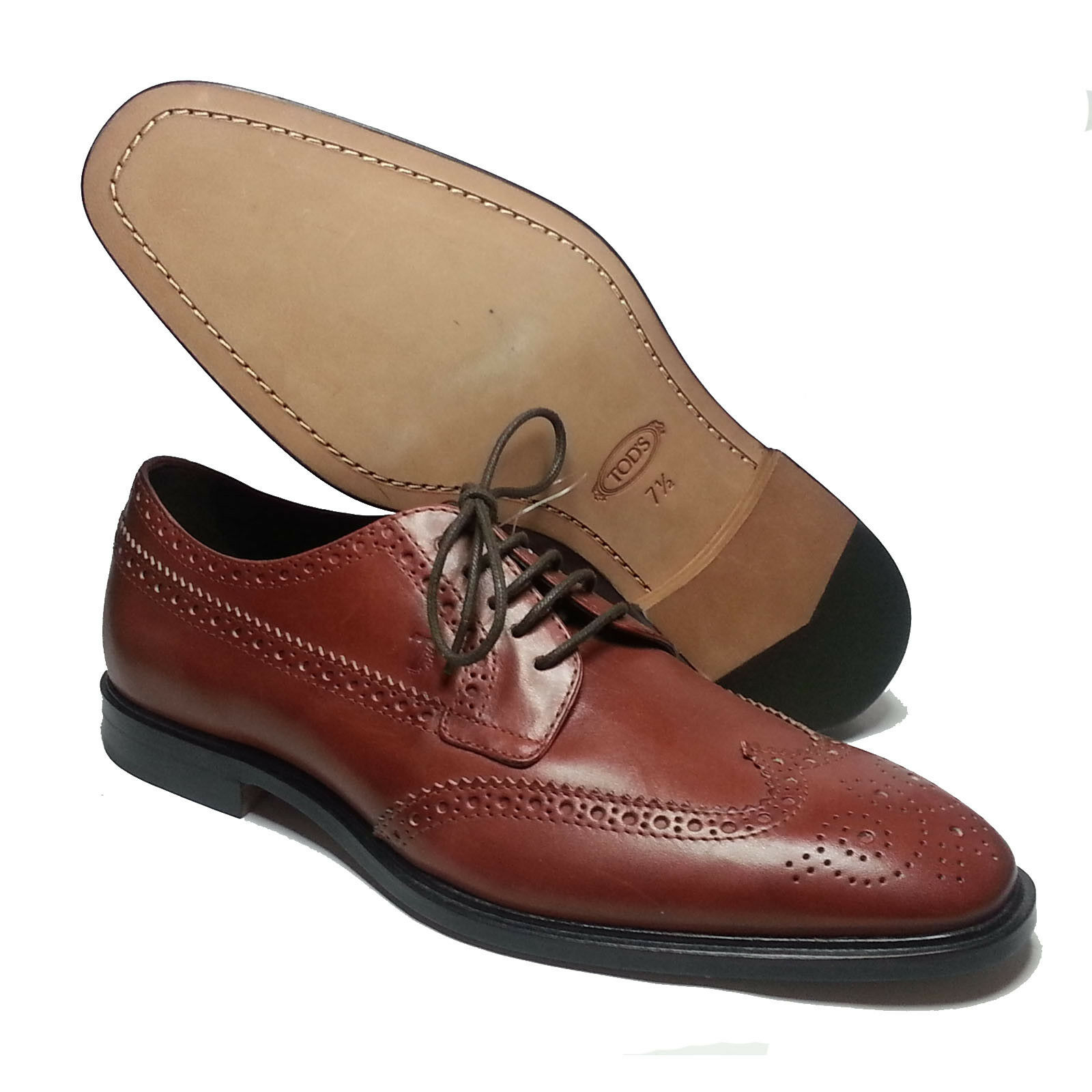 TOD'S Uomo Wingtip Brogue Brown Derby Shoes Size 8.5 Made in Italy