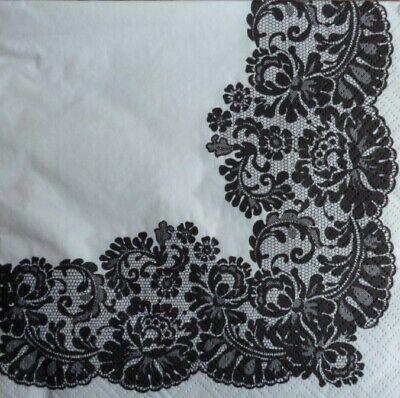 4 X Single Paper Napkins Decoupage Craft Table Black Lace 33 El Precio Se Mantiene Estable