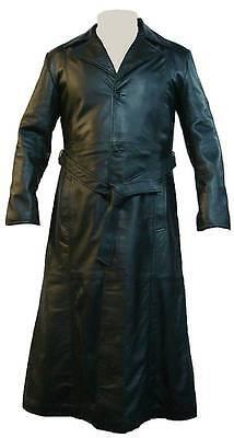 Real Leather Coat Black #JH Unicorn Mens Full Length Trench Coat