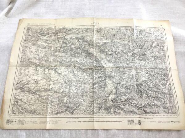 1886 Antik Französisch Landkarte Sens Yonne Department 19th Jahrhundert Original Perfekte Verarbeitung
