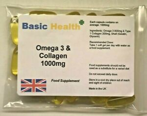 Omega-3-amp-Collagen-Capsules-x-30-1000mg-One-Month-Immune-System-Bones-Joints