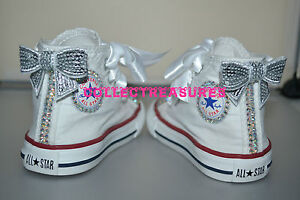 bb1d178b3184 Custom Crystal Diamante Bling Converse White Hi Top UK Infant 2 3 4 ...