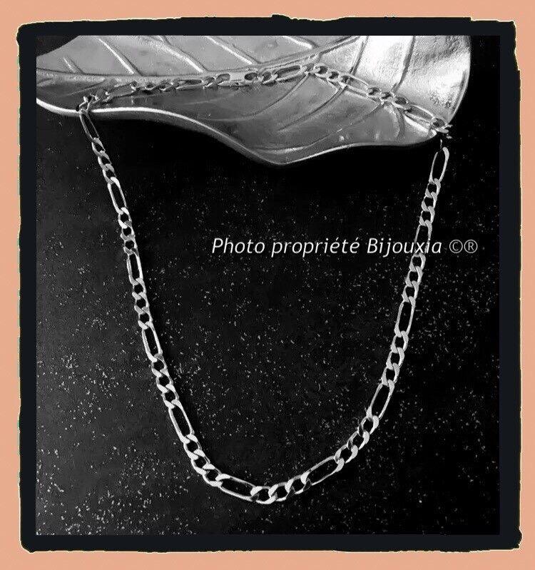 Catena A maglie maglie maglie Figaro Lucidata 50CM X 5mm En argentoo Massiccio RODIO 13907e