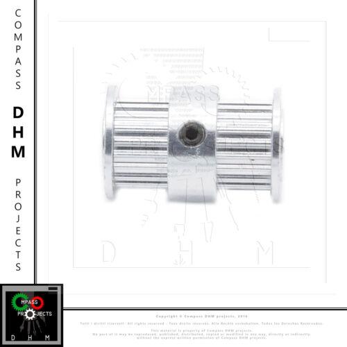 Puleggia GT2 20 denti alluminio foro 5 mm doppia testa double pulley 3D print