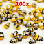 100x-set-Bees-Self-Adhesive-Ladybug-9x12mm-Wooden-Bumble-Craft-Card-Toppers thumbnail 2