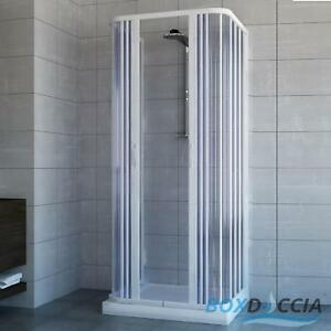 SHOWER ENCLOSURE 3 SIDED CENTRAL OPEN QUADRANT CUBICLE PLASTIC PVC ...