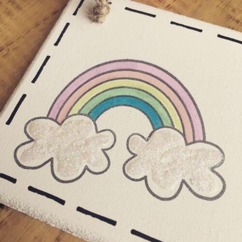 Girls Door Sign Name Plaque Nursery Gift Baby Playroom Room Personalised Rainbow