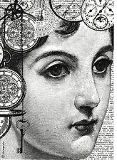 Carta di riso per decoupage, Album Fogli, Carta Artigianale Donna Nera E Orologio