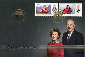 Norway-2017-FDC-King-Harald-amp-Queen-Sonja-80th-2v-GOLDEN-Cover-Royalty-Stamps