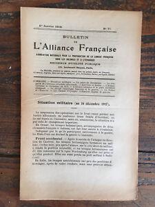 Bulletin l'Alliance francaise Janvier 1918 Propagation langue Francaise Colonie OXwuNMhC-09120817-796611658
