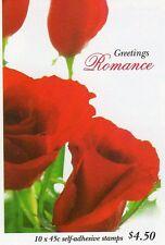1999 AUSTRALIAN STAMP BOOKLET GREETINGS ROMANCE ROSES 10 x 45c STAMPS MUH
