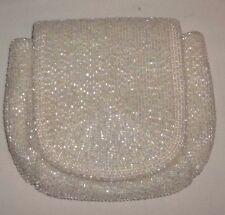 Richere Bag by Walborg Japan White Beaded Evening Clutch Handbag Purse GC!