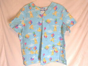 SCRUBS-MEDICAL-DENTAL-UNIFORMCITY-TEDDY-BEARS-amp-BALLOONS-SIZE-2XL-UNIFORM-TOP