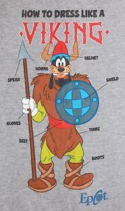 Walt-Disney-World-EPCOT-Goofy-Viking-T-Shirt-MEDIUM-Gray