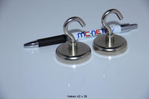 4 Stück Neodym Magnethaken Haken Magnete 42 mm vernickelt Stahl sehr stark