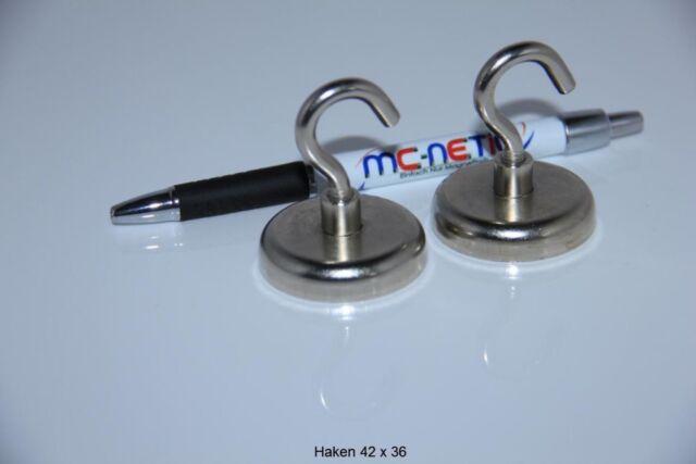 2 Stück Neodym Magnethaken Haken Magnete 42 mm vernickelt Stahl sehr stark