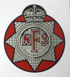WW2 NFS Helmet Decal - National Fire Service British WWII Fireman WWII Force