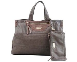 David Jones women faux leather handbag shoulder strap gray