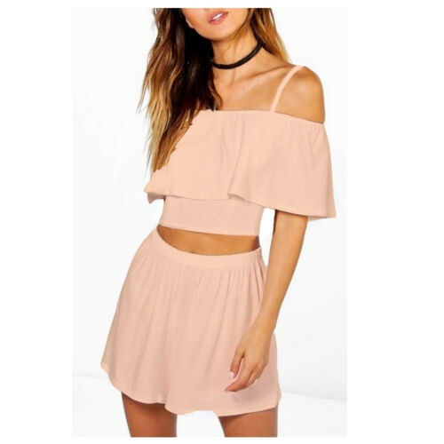 KOSP Girls Stretchy Bardot Off-Shoulder Summer Crop Top Flare Skirt Pack Set