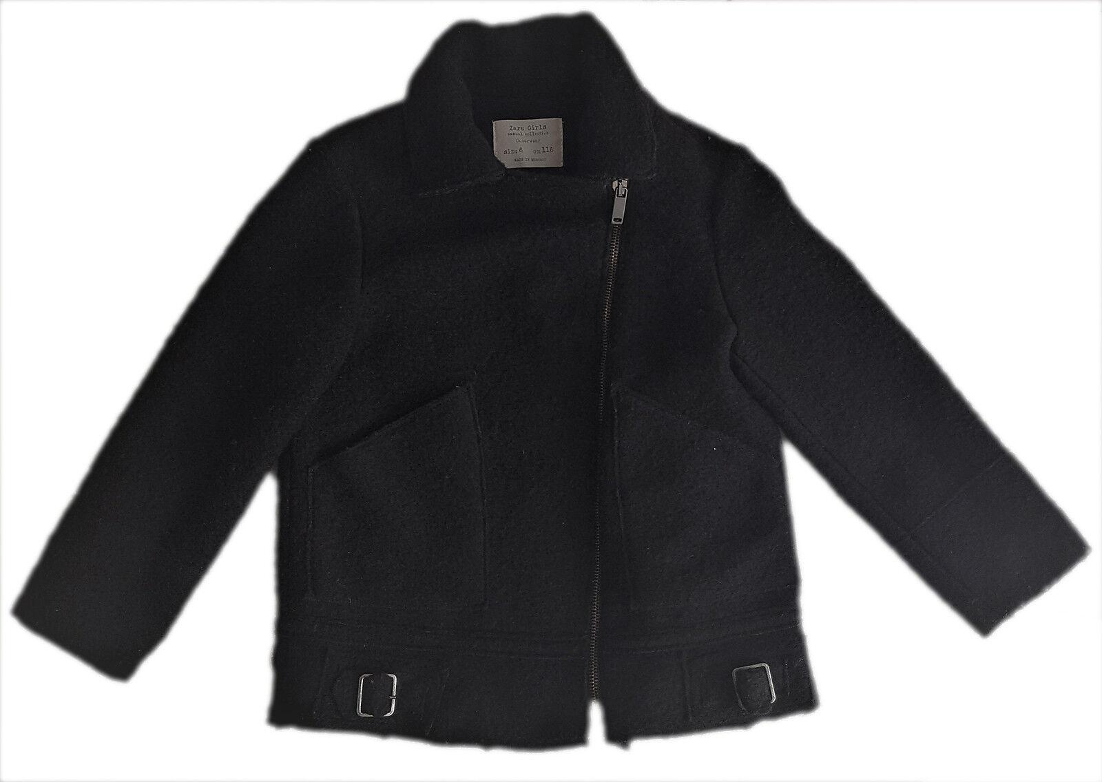 ZARA Mädchen BLACK WOOL BLEND Hüftlang Biker Coat Jacket 4-14y £ 39.99