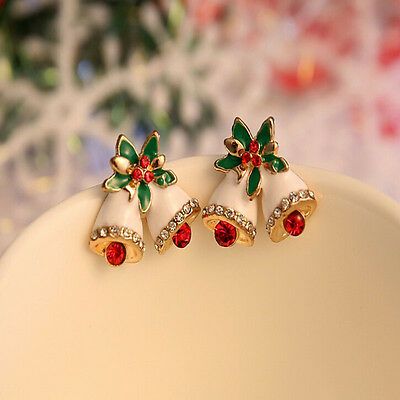Fashion Women Rhinestone Pierced Christmas Tree Deer Earrings Ear Stud Gift New