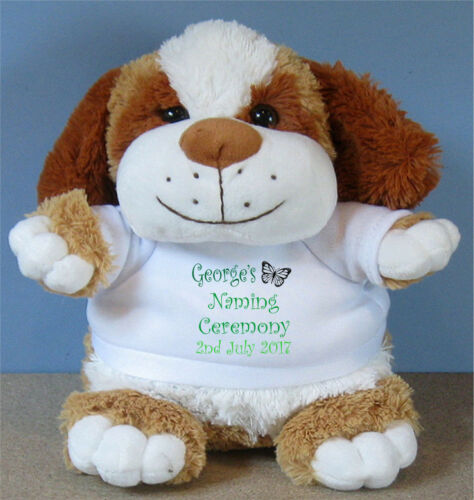 Personalised Christening Baptism Naming Ceremony Puppy Dog Add a Name /& Date