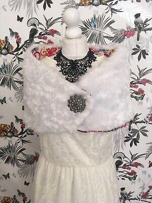 Fatto A Mano Bianco In Finta Pelliccia Coprispalle Scialle M/l Lolita Pin Up Pastello Goth Rockabilly-mostra Il Titolo Originale