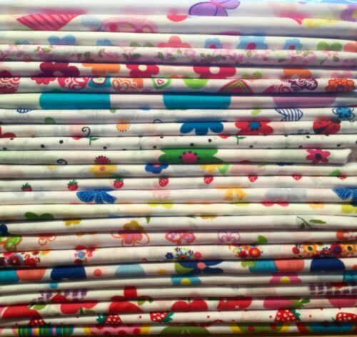 10 Graisse Quarts bundle blancs couleurs vives en polycoton tissu chutes bribes restes