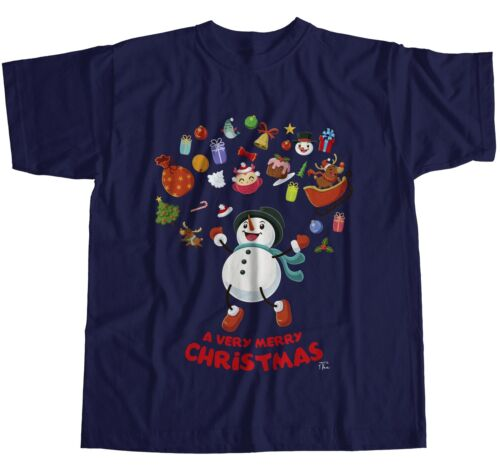 1Tee Mens Merry Christmas Snowman Surrounded by Christmas Favourites T-Shirt