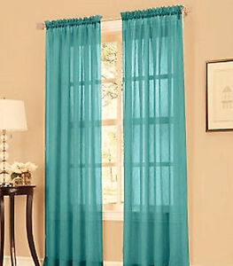 2 Panels Sheer Panel Teal Blue Sheer Window Treatment Curtains Drapes 55 X 63 Ebay