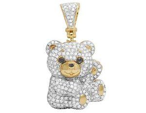 10K-Yellow-Gold-Genuine-Diamond-Iced-Teddy-Bear-Pendant-Charm-1-Ct-1-2-034