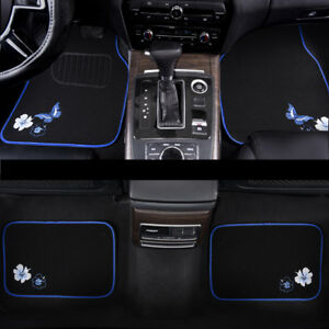 Universal-Car-Floor-Mats-Blue-Black-Butterfly-Anti-slip-For-Honda-Toyota-Suv-Van