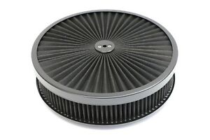 """14/"""" X 3/"""" Chrome Round Red High Flow Thru Washable Air Cleaner Drop Base SBC 350"""