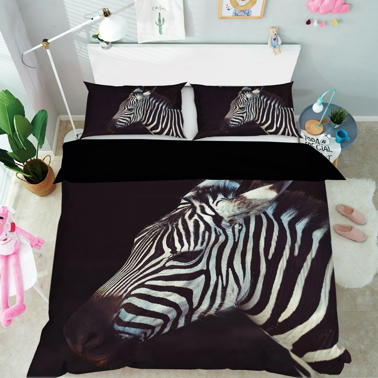 3D Cute Zebra Head R101 Animal Bett Pillowcases Quilt Duvet Startseite Königin König Zoe
