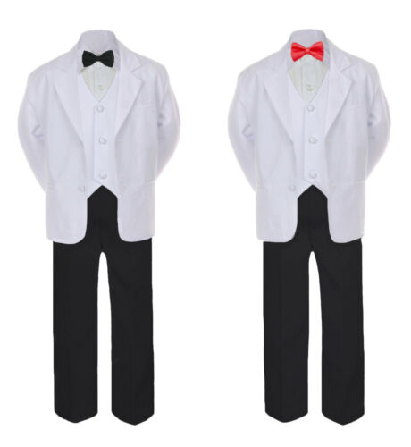 5-7pc Formal Black White Tuxedo Suit Red Bow Necktie Vest Boy Baby Sm-20 Teen