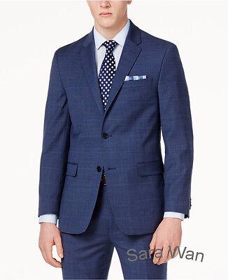 Navy Blue Glen Check Men Suit Custom Made Slim Fit Glen Plaid Two Piece Suit Men Ebay